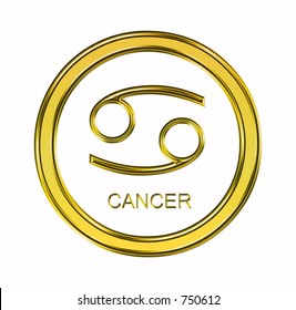Large 3D gold virgo symbol on pure white background