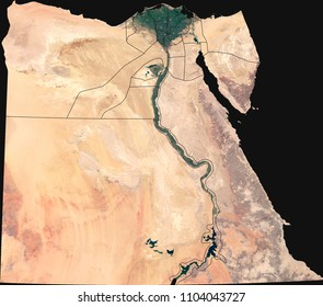 Large (8 MP) satellite image of Egypt with internal (governorates) borders. Country photo from space. Isolated imagery of the Arab Republic of Egypt. Elements of this image furnished by NASA.
