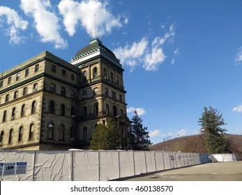 Large abandoned psychiatric hospital, now demolished.