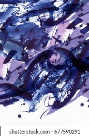 Large abstract watercolor background. Vivid blue and purple freehand brush stains, dots and spots in solid texture on grainy white watercolor paper. Grainy raster illustration.