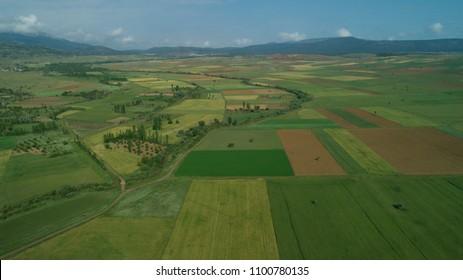 large agricultural fields on konya plain/turkey