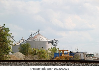 Large Agriculture Silos in a rural Illinois Countryside