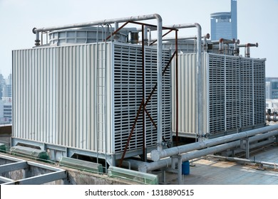 Large air conditioning equipment on the roof of an office building