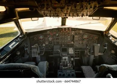Large airplane cockpit