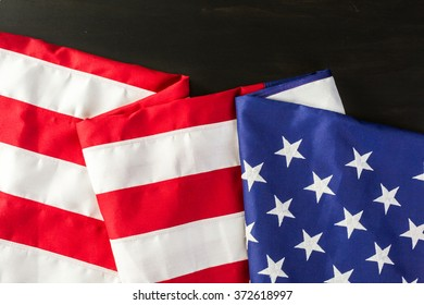 Large American Flag on the table.