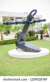 A large ship's anchor on display in Gibraltar. Gibraltar is a British Overseas Territory located on the southern tip of Spain.