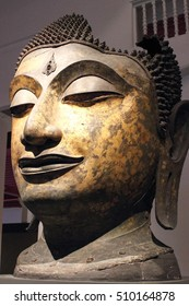 The large ancient Buddha head , it is more than 500 years old , Thai sculpture ,Head of a Buddha Image.
