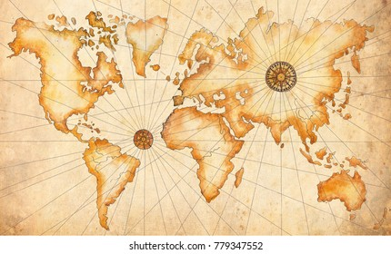 A large ancient map of the world drawn by hand in watercolor. Perfect for design on a pirate theme, on travel and adventure topics.
