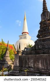 Large ancient stupa, Historic southern Thailand: Wat Phra Mahathat Woramahawihan. Nakhon Si Thammarat.