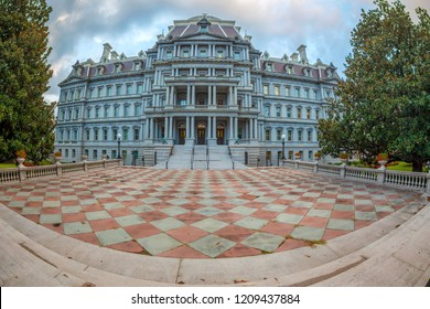 Large angle view of Dwight D. Eisenhower executive office building situated just west of the White House in Washington DC.Here is the office of the Vice President of the U.S.A. Built from 1871 to 1888