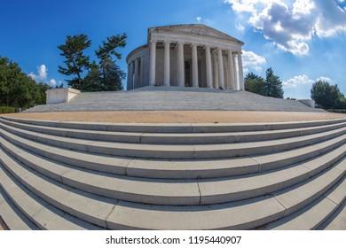 Large angle view with Thomas Jefferson Memorial, Washington DC, USA.