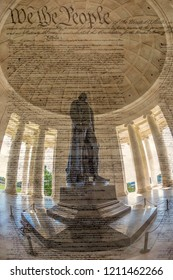 Large angle view with Thomas Jefferson statue in the Jefferson Memorial, Washington DC, USA. Famous document Declaration of Independence in background.