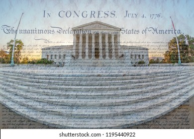 Large angle view with the United States Supreme Court Building at early morning light. Famous document in background. Washington DC, USA.