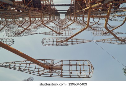 Large antenna field. Soviet radar system Duga at Chernobyl nuclear power plant. ABM missile defense. Antenna field, over-the-horizon radar. Military object of USSR ABM. Secret Soviet Chernobyl -2