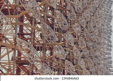 Large antenna field. Soviet radar system Duga at Chernobyl nuclear power plant. ABM missile defense. Antenna field, over-the-horizon radar. Military object of USSR ABM. Soviet Chernobyl -2