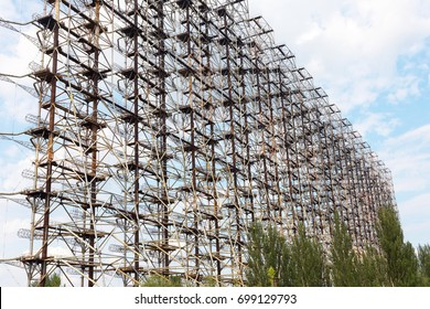"Large antenna field. Soviet radar system ""Duga"" at Chernobyl nuclear power plant. ABM missile defense. Antenna field, over-the-horizon radar. Military object of USSR ABM. Soviet Chernobyl -2"