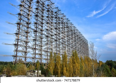 "Large antenna field. Soviet radar system ""Duga"" at Chernobyl nuclear power plant. ABM missile defense. Antenna field, over-the-horizon radar. Military object of USSR ABM."