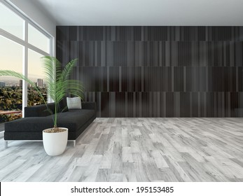 Large apartment living room with a view window along one wall overlooking a town and a single couch on a parquet floor with a modern patterned wall in minimalist style