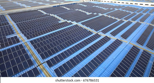 A large area of solar photovoltaic panels on the roof