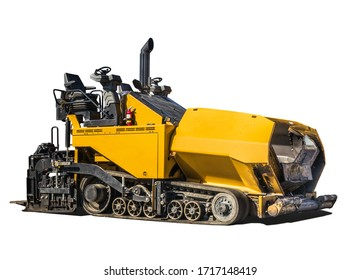 Large asphalt paving machine. Yellow road construction vehicle, with exposed drivers seat. Rubber truck paver. Isolated on white.
