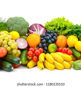 Large assortment vegetables and fruits isolated on white background