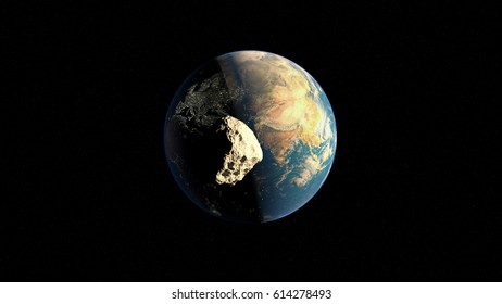 A large asteroid flies to the planet Earth 3d illustration