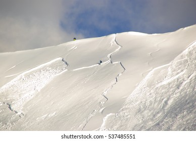 Large avalanche set by skier in Sillian