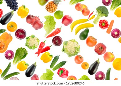 Large background of vegetables and fruits isolated on white background