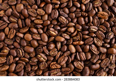 The large background from whole coffee beans