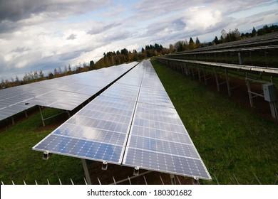 Large Bank Amorphous Solar Panels Green Renewable Energy Sun Power