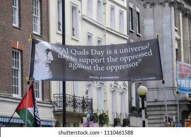 A large banner is held up during the Al Quds Day rally, London, 10/06/18.