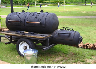 Large barbecue smoker grill at the park