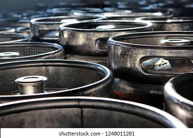 Large barrels or containers for beer in industrial production of metal in large quantities. The concept of production.