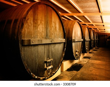 Large Barrels at a Winery in South Australia