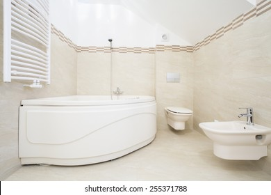 The large bath in the luxurious bathroom
