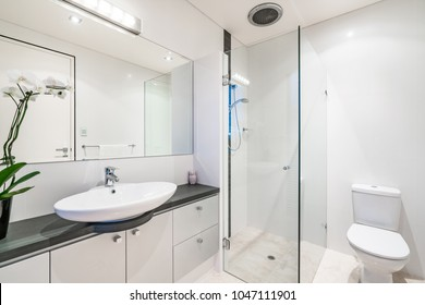 Large bathroom interior with stone bench top and glass shower screen. PERTH, WESTERN AUSTRALIA. Photographed: March, 2018.