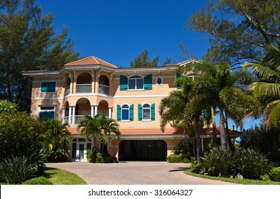 A Large Beach House with Beautiful Landscaping on the Florida Coast
