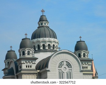 Large beautiful cathedral in city center, Targu Mures, Romania.