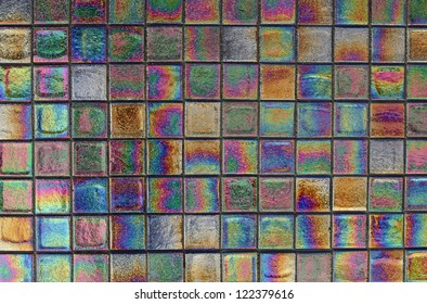 A large and beautiful mosaic of iridescent tiles