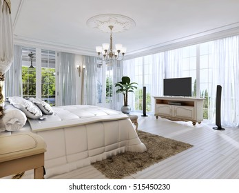 Large bedroom with panoramic Windows and beautiful views. 3D render