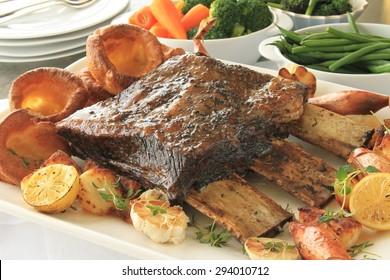 large beef rib sunday roast dinner