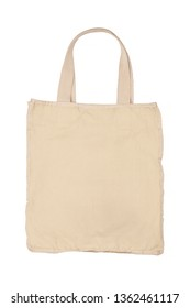 Large beige bag of dense cotton fabric on a white background