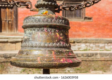 Large bell at the Bagh Bhairab temple in Kirtipur, Nepal