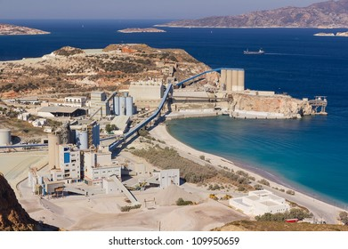 Large bentonite and perlite processing plant by the sea