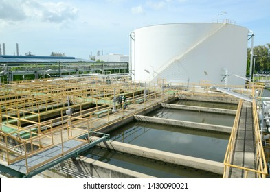Large or big tanks, oil tanks, industrial tanks at petrochemical plant, oil and gas plant. front is process of waste water treatment tanks from chemical plants according to environmental requirements.