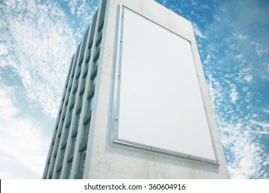 Large billboard on a building wall, mock up