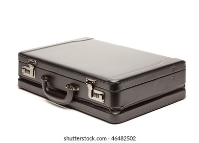 Large Black Briefcase Isolated on a White Background.