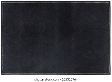 Large Black Leather Background with white Stitching