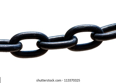 Large black metal chain on a white background