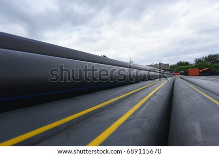 Large Black Plastic Pipes Water Supply Stock Photo (Edit Now